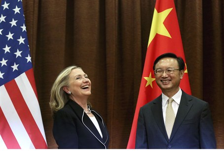 Clinton with counterpart Yang