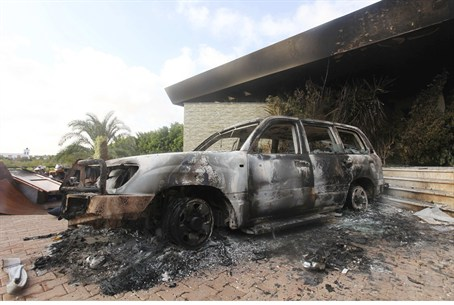 Burnt car at US Consulate in Benghazi, Libya