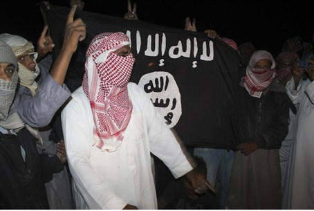 terrorists with al-Qaeda flag