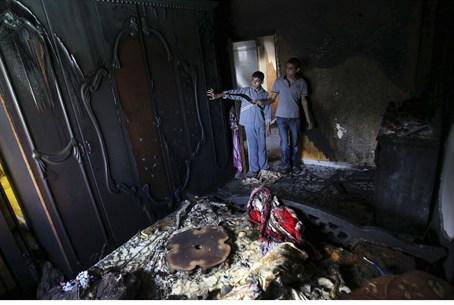 Burnt bedroom that ignited anti-Hamas protest
