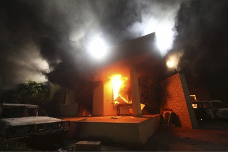 The U.S. Consulate in Benghazi in flames