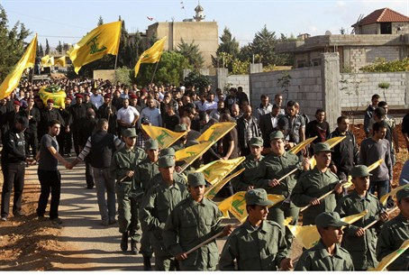 Hizbullah terrorist troops at recent funeral