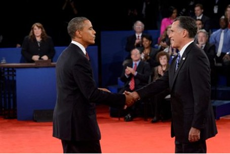 Romney shakes hands with Obama at conclusio