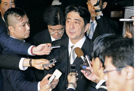 Abe following visit to Yasukuni