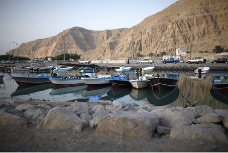 Boats docked at the Omani port of Khasab