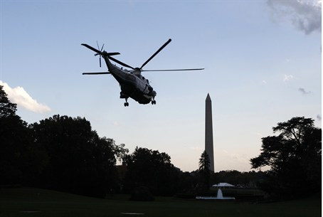 Obama takes off aboard Marine One from the So