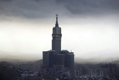 The four-faced Mecca Clock Tower is seen from