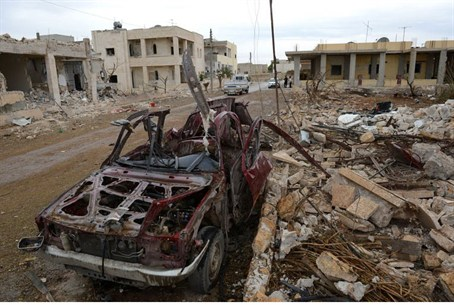 Destruction from Syria's civil war in the tow