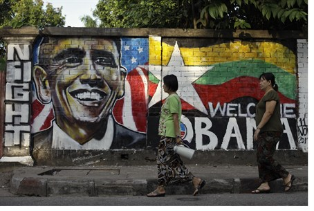 Grafitti welcoming US Pres. Obama to Myanmar