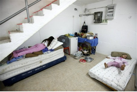 Family in bomb shelter, Ashkelon