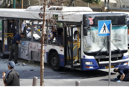 Damaged bus in Tel Aviv bombing