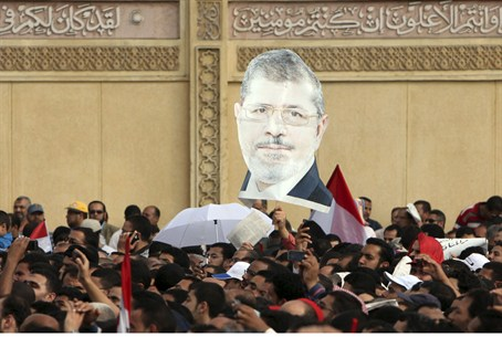 Supporters of Egyptian President Mursi chant