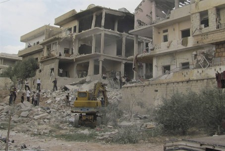 Aftermath of Syrian gov't strike in Dera'a