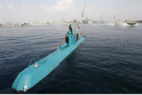 An Iranian Qadir light submarine is seen in G