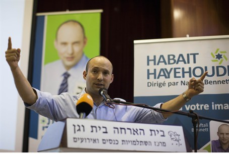 Naftali Bennett at event for French olim