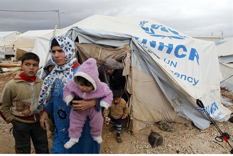 Syrian refugees at the Al-Zaatari refugee cam