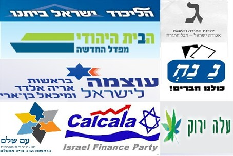 Israeli political parties logos 2013 election