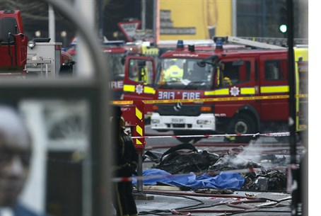 Debris from a south London helicopter crash