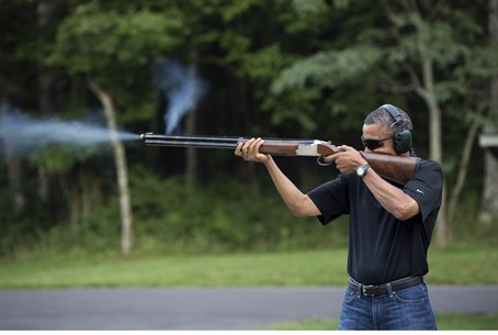 President Obama shoots clay targets on the ra
