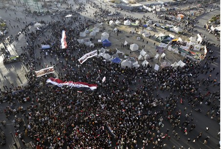 Tahrir Square during a protest of Egyptians o