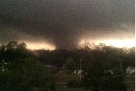 A tornado is pictured near Hattiesburg, Missi