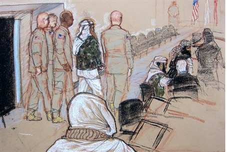 A courtroom sketch of the suspected 9/11 plot