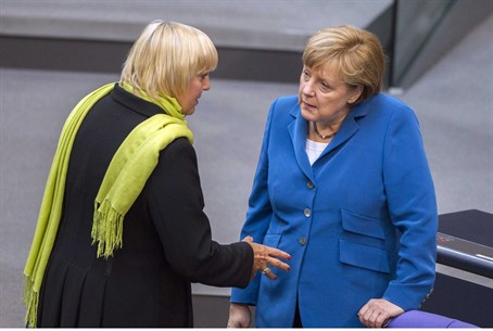 German Chancellor Merkel talking with the co-