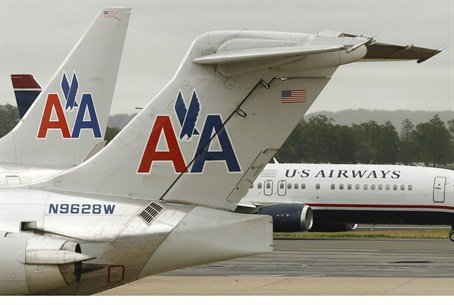 American Airlines, US Airways planes on the t