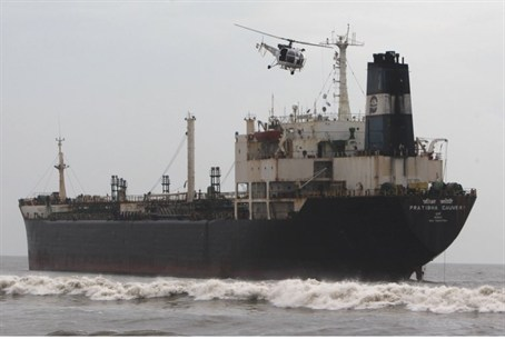 oil tanker ship sails off the coast in Chenna