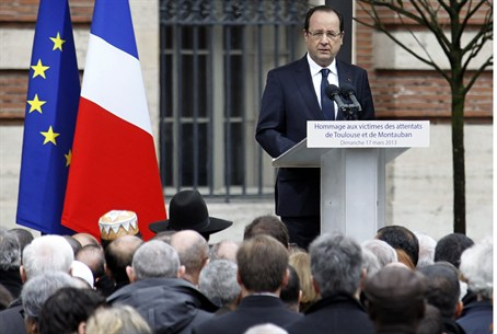 French President Francois Hollande during a m