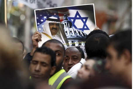 Egyptian protester holds anti-Israel sign