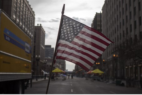 An American flag waves at site of Boston atta