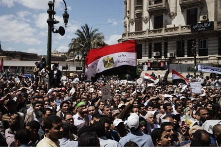Muslim Brotherhood supporters protest in fron