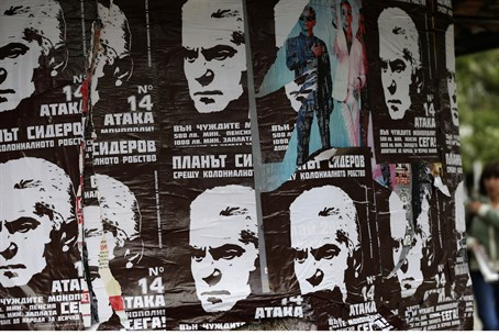 posters of Volen Siderov, leader of the Attac