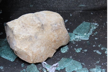 Rock thrown at vehicles