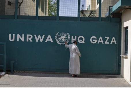 Arab man outside UN headquarters in Gaza