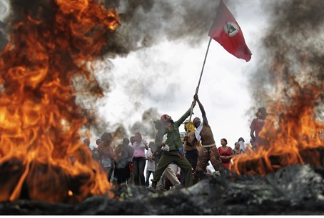 Scene from protests in Brazil
