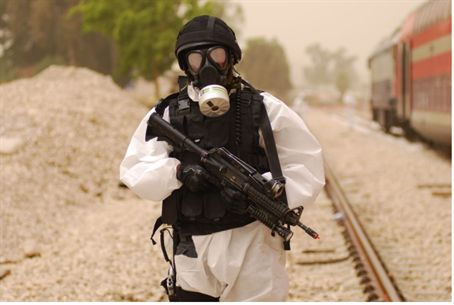 Illustration: Chemical warfare drill