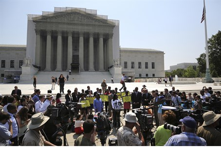 activists outside US Supreme Court