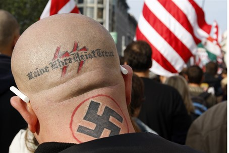 Neo-Nazi at Jobbik party rally (2009)