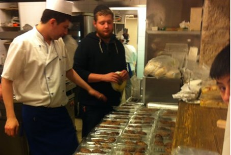 Meals being prepared for hassidim