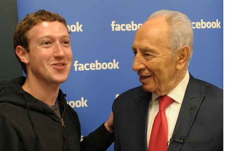 Facebook's Mark Zuckerberg meets Shimon Peres