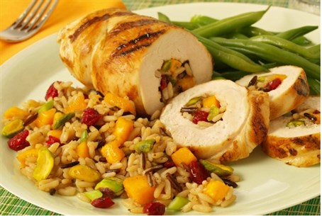 Chicken with rice and mango