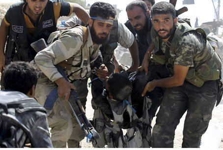 Illustration: Syrian rebels evacuate wounded