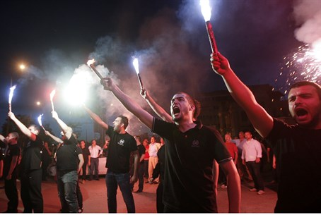 Far-right group models itself on Greek Golden Dawn party (pictured)