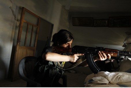 Illustration: Female Kurdish fighter in Syria