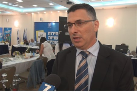Interior Minister at elections HQ in Kfar Mac