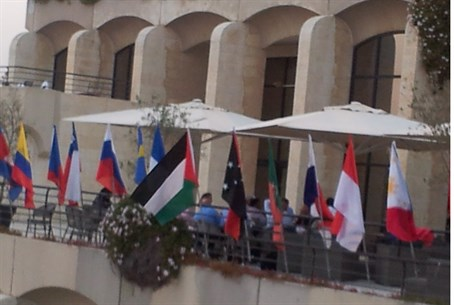 The PA flag outside the Dan Panorama Hotel in