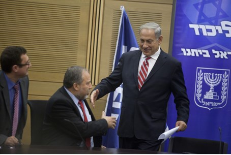 Liberman and Netanyahu shake hands after Liku