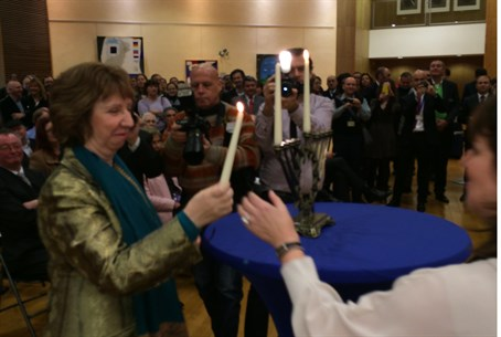 Catherine Ashton at EJCC Hannukah ceremony, N